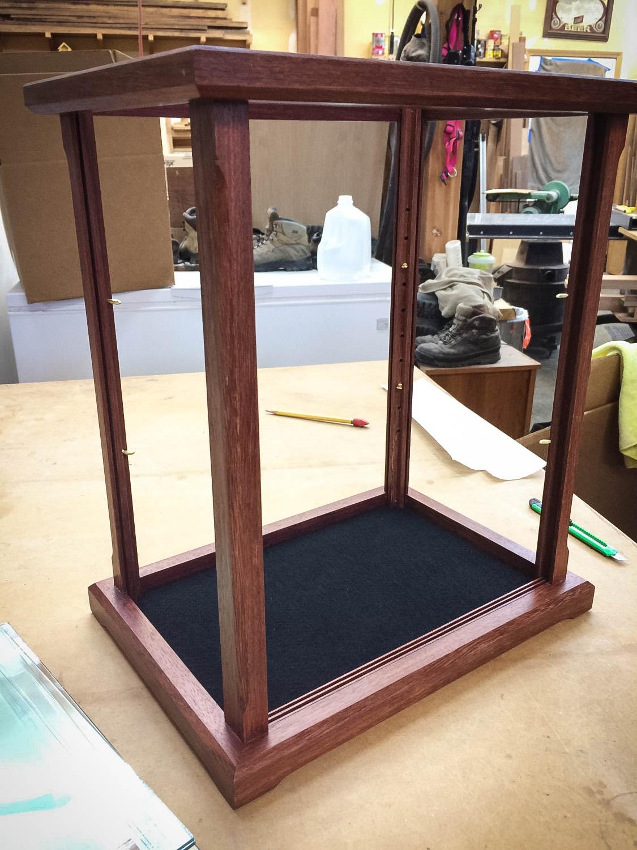 Handmade Purple Heart Wood & Glass Doll Display Case