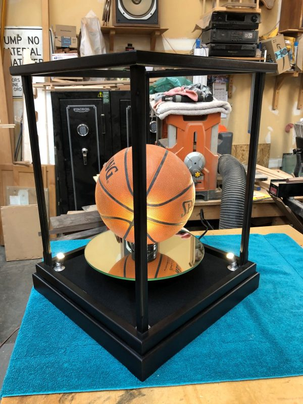 Black Lacquer Lighted Rotating Display Case for Basketball