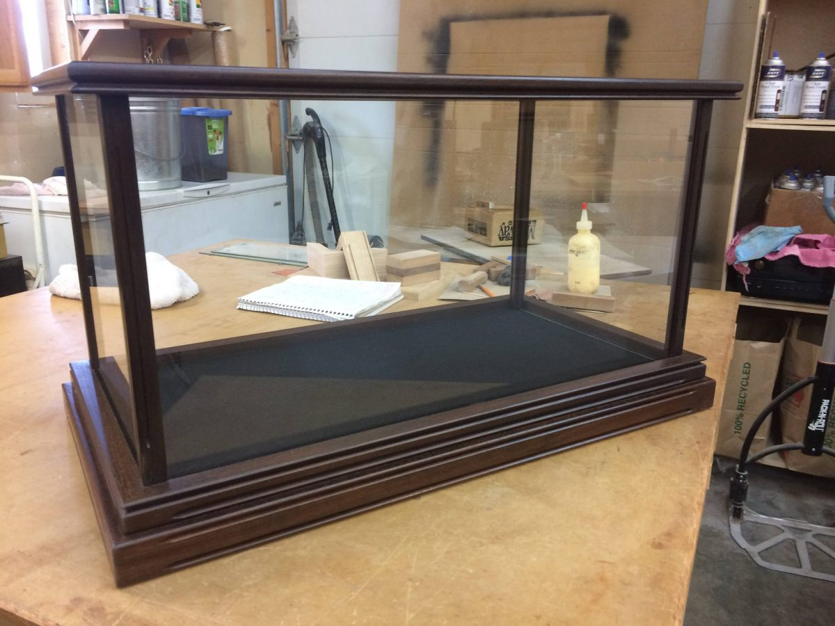 Wood and Glass Samurai Sword Display Case with Base – Walnut