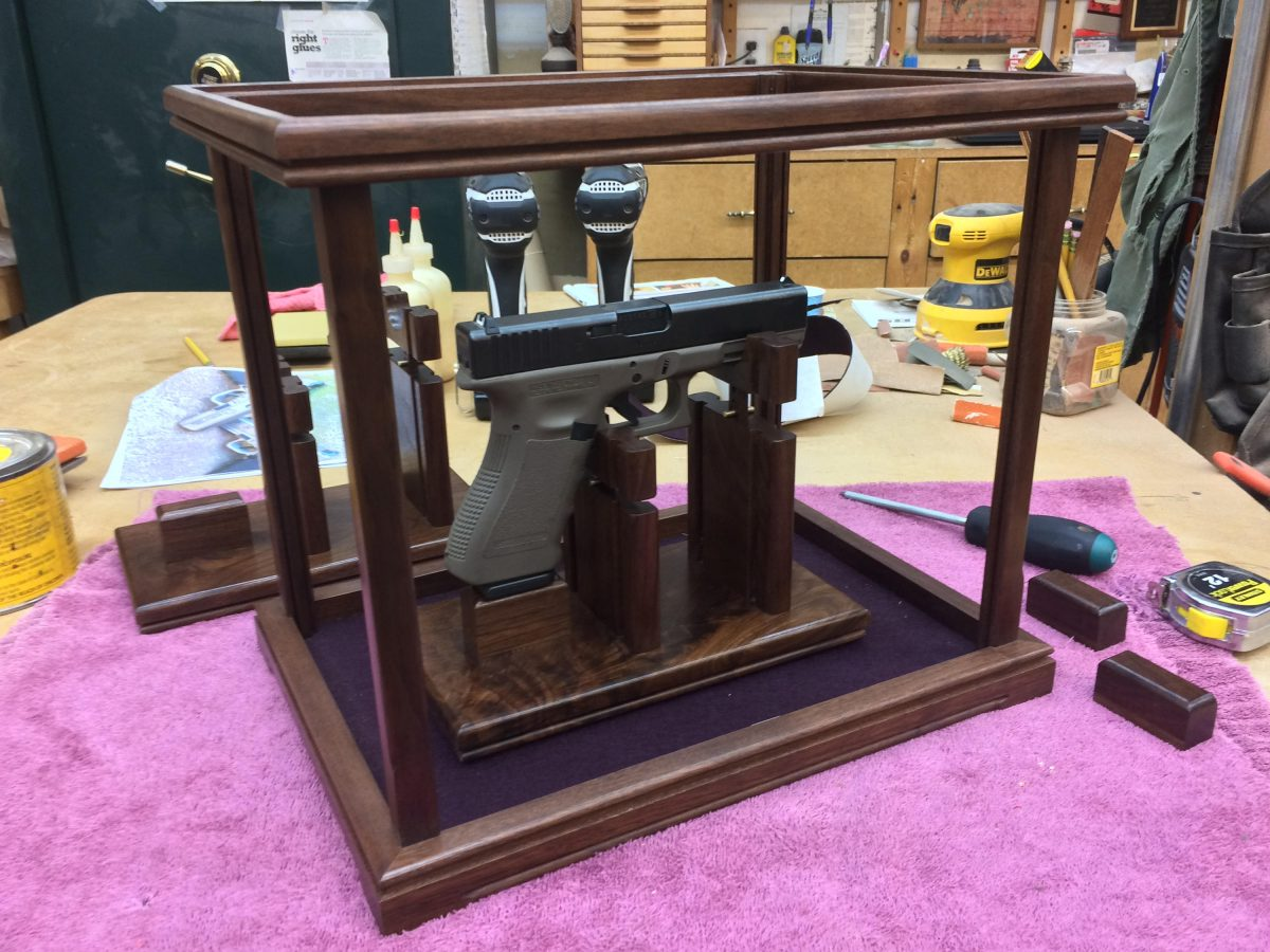 Walnut Pistol/Gun Display Case – Wood and Glass w/Custom Trim Package – Case Only – Stand Sold Separately