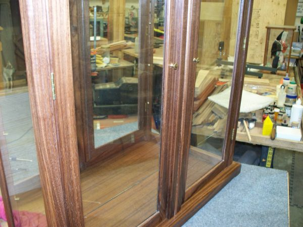 Wood and Glass Display Case with Double Doors – Walnut
