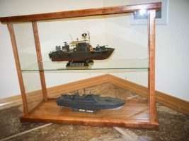 model ships in display case